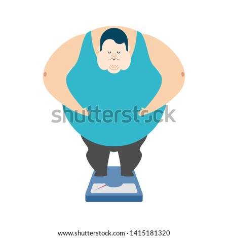 Fat guy on scales. Glutton Thick man. fatso