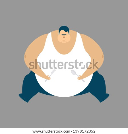 Fat guy sitting isolated. Glutton Thick man. fatso