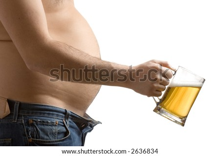 Fat man holding a beer glass against white background