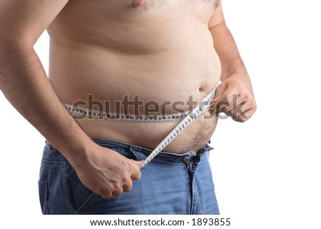 Fat man holding a measurement tape against white background