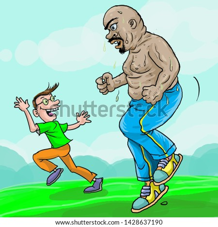 Fat man jogging with thin man. Thin man motivated him to running.
