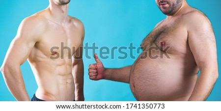 Fat man. Muscular and fat. Different bodies. Before and after diet and workout. Muscular and fat mans. Weight loss. Two men measure their fat. Bad and good body