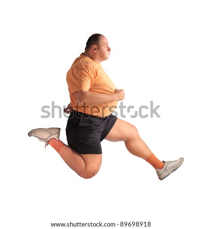 stock photo : Fat man running