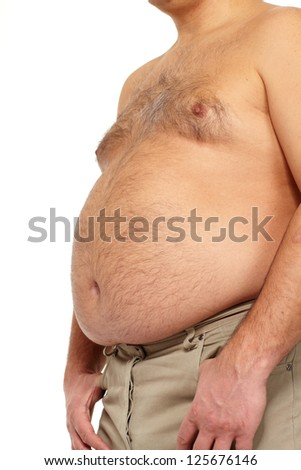 Fat man with a big belly. Diet.