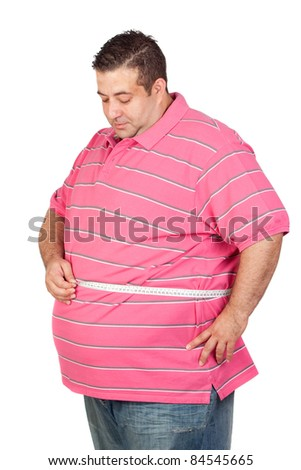 Fat man with a tape measure isolated on white background