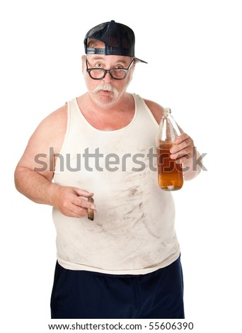 Fat man with drooping glasses a beer and cigar