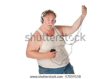 Fat man with mp3 player dancing to music