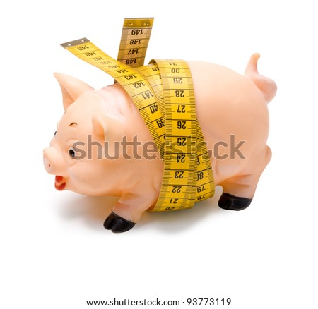 fat pig measures the waist measuring tape on a light background