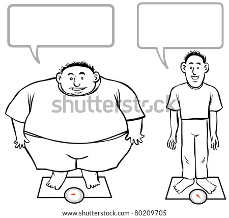 Fat-Slim cartoon men. outline illustration.