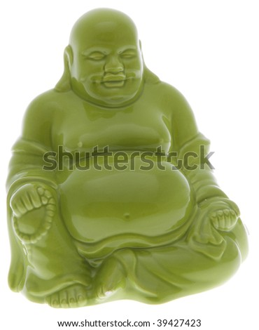 Fat Statue Buddha in Green.  File includes clipping path.