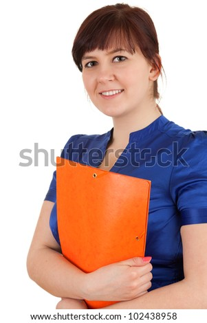 fat student woman in blue blouse, white backgroundc - stock photo