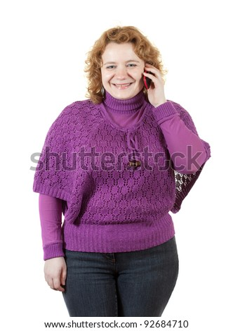 fat unsightly woman speaks by mobile. Isolated over white