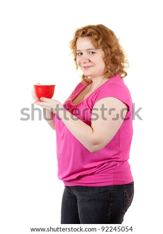 fat unsightly woman with tea cup. Isolated over white background