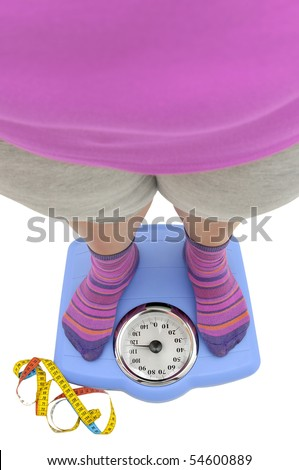 Fat woman body part in a scale with measuring tape