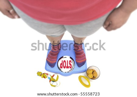 Fat woman body part in a scale with the word stop, and a jar of cookies