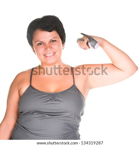 fat woman workout with dumbbells