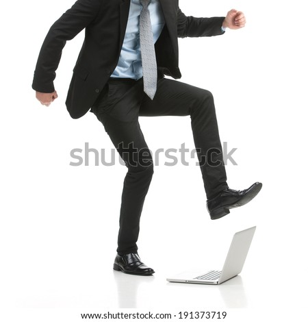 Fatal Error?! Businessman stomping on his laptop