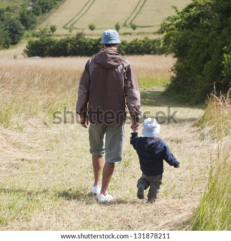 Father and a toddler son walking in a fields in summer countryside, back view.