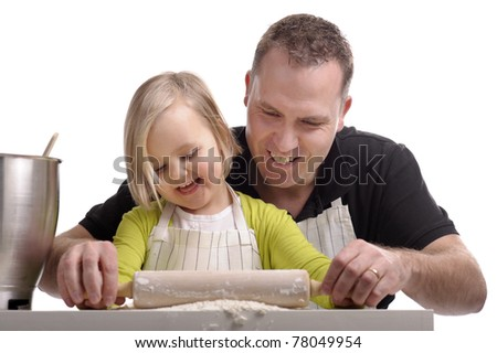 father and child cooking together and having fun. Isolated on white background