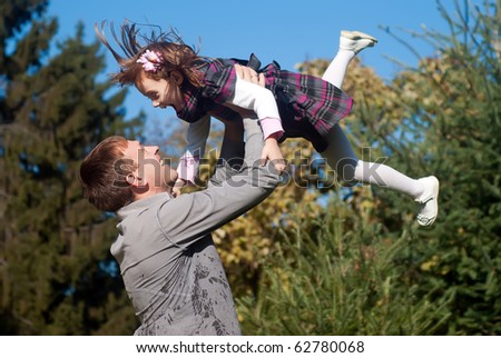 Father and daughter against nature