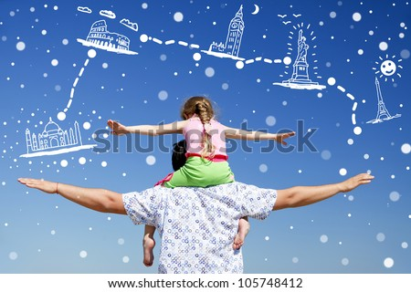 Father and daughter at outdoor dreaming about vacation. - stock photo