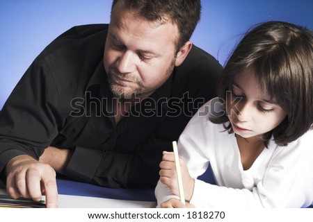 Father And Daughter Holding Hands Drawing. stock photo : father and