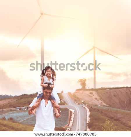 father and daughter having fun...