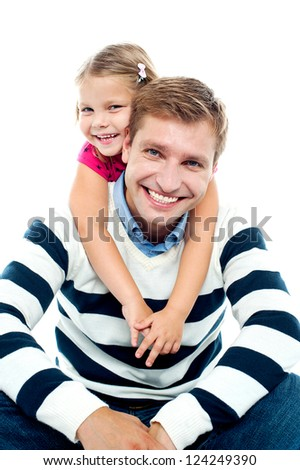 Father and daughter having fun together. All against white background