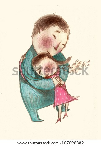 Father and Daughter Hugging