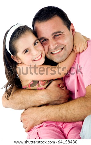 Father and daughter hugging and smiling, isolated on white background