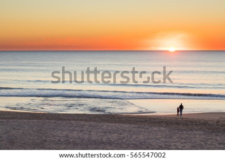 Father and daughter in a fine sand beach, close to the ocean, watching a very strong colored sunset #565547002