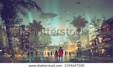 father and daughter looking at the futuristic city with colorful light, digital art style, illustration painting