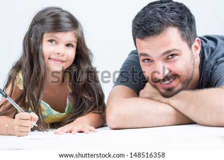 Father and daughter smiling and having great time together