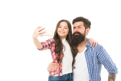 Father and daughter taking selfie. 4G technology. Blogger kid. Blogger concept. Life online. Blogger lifestyle. Capture happy moments together. Little girl with father. Little child cheerful dad.