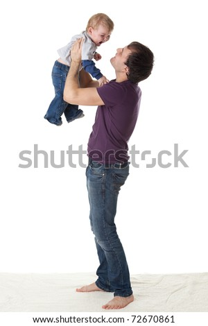 Father and  his sweet  baby on a white background.  Happy family.