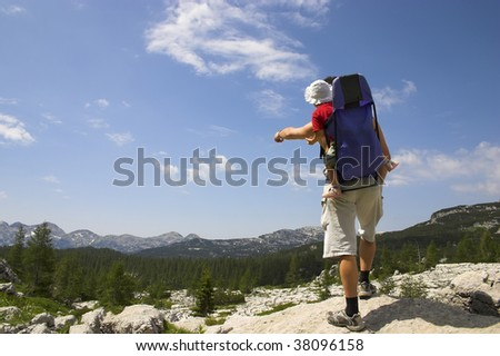 Father and little daughter in mountains - Triglav national park, Slovenia