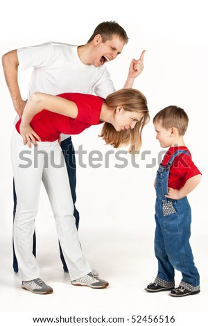 Father and mother scold and shout at their son