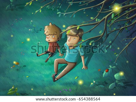 Father and Son in the Beautiful Night Sit Down on the Green Grass Telling Stories. Video Game's Digital CG Artwork, Concept Illustration, Realistic Cartoon Style Background