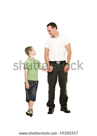 Father and son isolated on white background