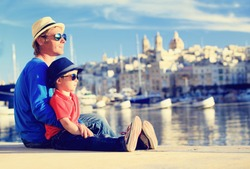father and son looking at city of Valetta, Malta, family travel