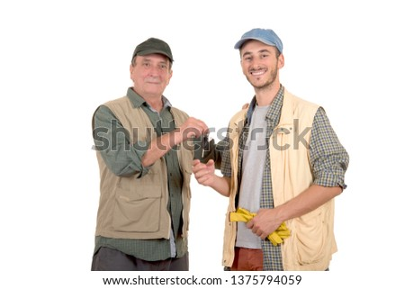 Father and son manual workers