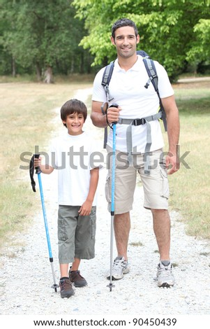 Father and son on a hike