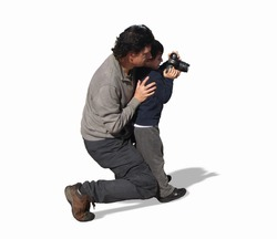 Father and son, people in the sun isolated. Natural image of a father photographer playing and teaching a child how to take photos. A man an a boy on a white background to use in edition.
