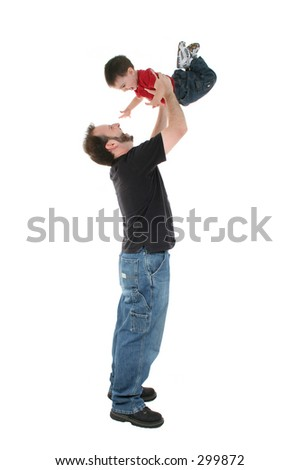 Father and son playing airplane over a white background.