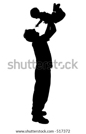 Father and son playing airplane over a white background