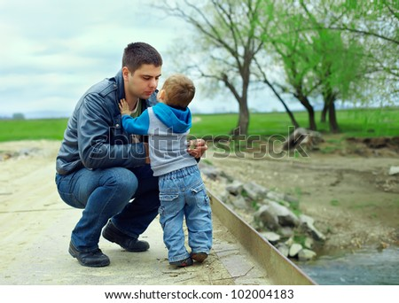father and son relationships. countryside landscape