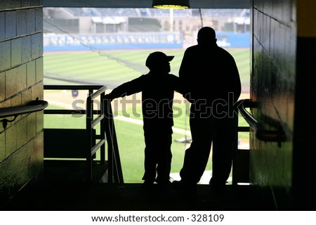 Father and Son watching a baseball game.