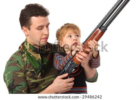 Father and son with gun