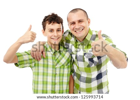 Father and son with thumbs up, isolated on white background