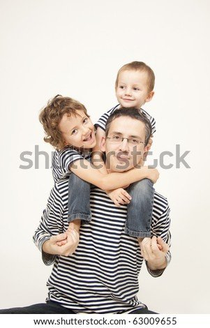 Father and sons portrait - stock photo